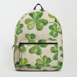 Watercolor Shamrock Pattern on White Backpack