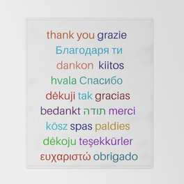 Thank you in different languages Throw Blanket