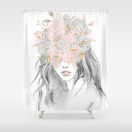She Wore Flowers in Her Hair Rose Gold by Nature Magick Shower Curtain