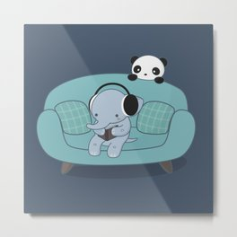 Kawaii Elephant And Panda Metal Print