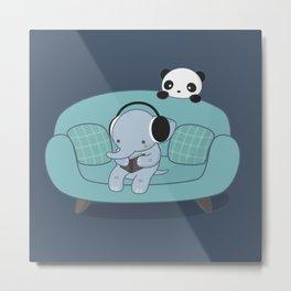 Kawaii Elephant And Panda Metal Print