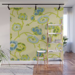 Japanese Flowers On Yellow Background Wall Mural