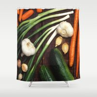 vegetables Shower Curtains featuring Healthy Vegetables  by BravuraMedia