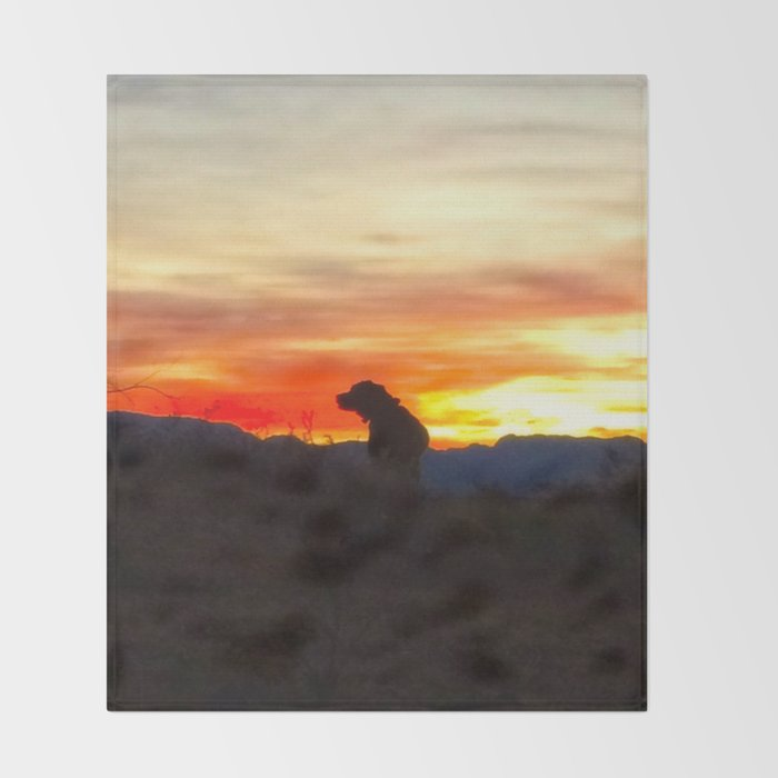 Black Dog Red Throw Blanket