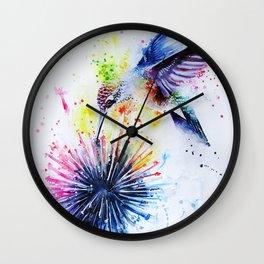 Hummingbird and Dandelion Wall Clock