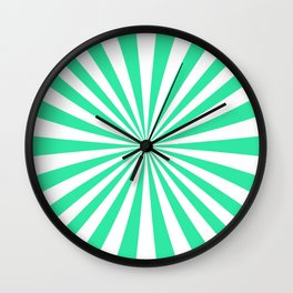 Teal Green Rays Wall Clock