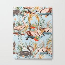 Swan floating in lake Metal Print