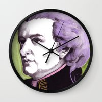mozart Wall Clocks featuring Wolfgang Amadeus Mozart by Joseph Walrave