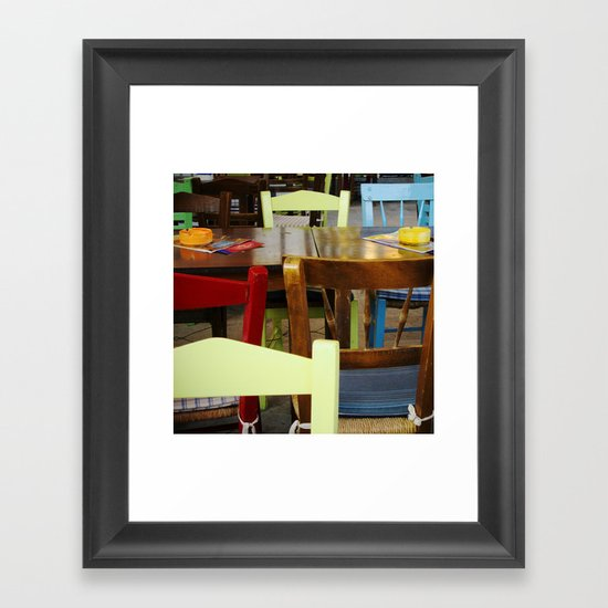 Colorful summer chairs Framed Art Print