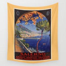 Salerno Italy vintage summer travel ad Wall Tapestry