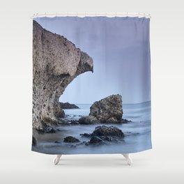 Half Moon Beach. Purple Sky. Eagle head Shower Curtain