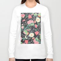 preppy Long Sleeve T-shirts featuring Pastel preppy hand drawn garden flowers chalkboard by Girly Trend