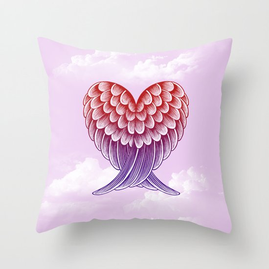 Heart Wings [Pink Version] Throw Pillow