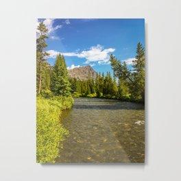 Yellowstone National Park River Hike Landscape Print Metal Print