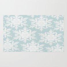 Wedgewood Blue Winter Christmas Snowflake Design Rug