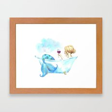 Bathtub Mermaid Framed Art Print