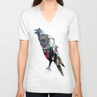 raven V-neck T-shirts featuring Raven by Jeffrey J. Irwin