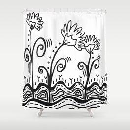 Three Spring Flowers Shower Curtain