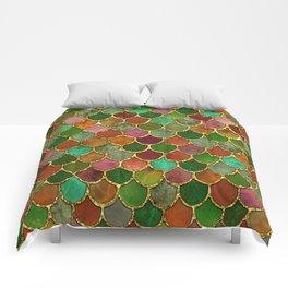 Greens & Gold Mermaid Scales Comforters
