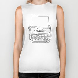 type writer single line drawing Biker Tank