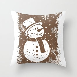 Friendly Snowman Throw Pillow