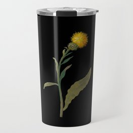 Centaurea Peregrina Mary Delany Delicate Paper Flower Collage Black Background Floral Botanical Travel Mug