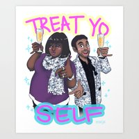 treat yo self Art Prints featuring Treat Yo Self by enerjax