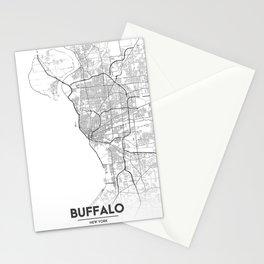Minimal City Maps - Map Of Buffalo, New York, United States Stationery Cards