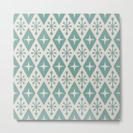 Mid Century Modern Atomic Triangle Pattern 710 Green and Beige Metal Print