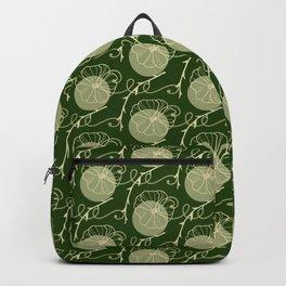Floral Pattern | Subtle Green on Forest Green Backpack