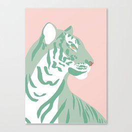 Tiger - Green and Pink Canvas Print