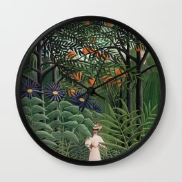 Jungle scene with a lady Wall Clock