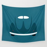 volkswagen Wall Tapestries featuring Volkswagen Beetle by Nick Steen
