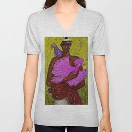 Classical African American Portrait 'Caribbean Bird Vendor' by Ellis Wilson Unisex V-Neck