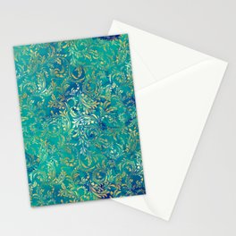Blue Gold Swirls Stationery Cards