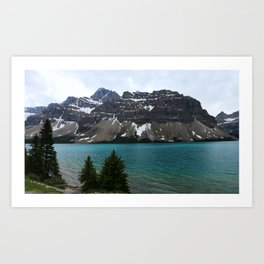 Bow Lake With Crowfoot Mountains Art Print