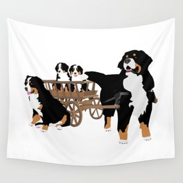 Family of Bernese Mountain Dogs with Wooden Wagon Wall Tapestry