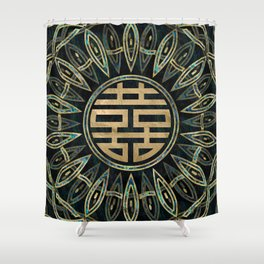 Double Happiness Symbol Gold and Abalone Shower Curtain