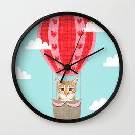 Orange Tabby Cat breed hot air balloon cat art Wall Clock