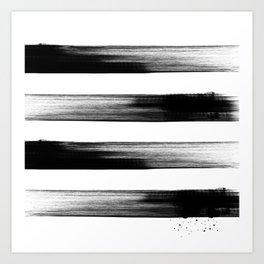 Japanese calligraphy stroke stripe -Zen style, black and white Art Print