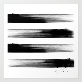 Japanese calligraphy stroke stripe -Zen style, black and white Art Print