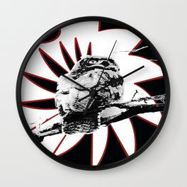 Samurai Owl (Darker Red) Wall Clock