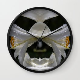 Aesthetic abstract mirroring fractal lily covered by raindrops Wall Clock