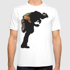 RUN ZOMBIE RUN! White MEDIUM Mens Fitted Tee