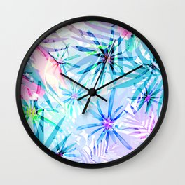 Flashy Colorful Tropical Flowers Design Wall Clock