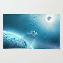 Astronaut Floating in Space Rug
