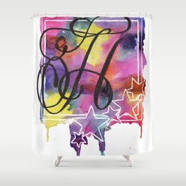 Calligraphy Capital Initial H Shower Curtain