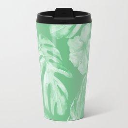 Tropical Palm Leaves Green Travel Mug