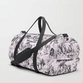 Alice in Wonderland | Toile de Jouy | Black and Pink Duffle Bag