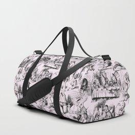 Alice in Wonderland | Toile de Jouy Pattern | Black | Pink | Vintage Pattern | Victorian Gothic | Duffle Bag